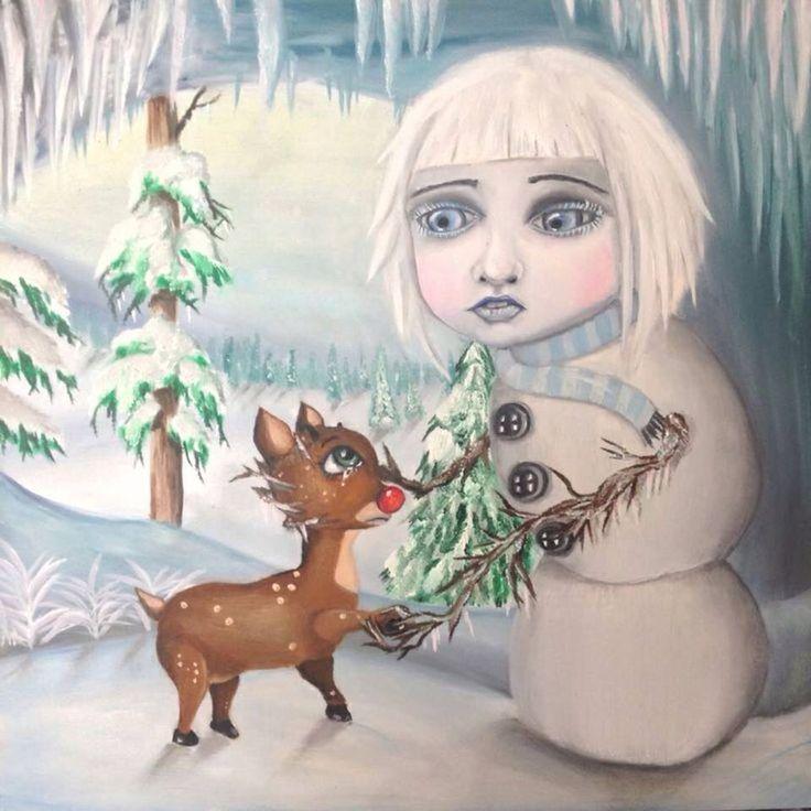 Oil painting popart surrealism Christmas snowman Rudolph reindeer