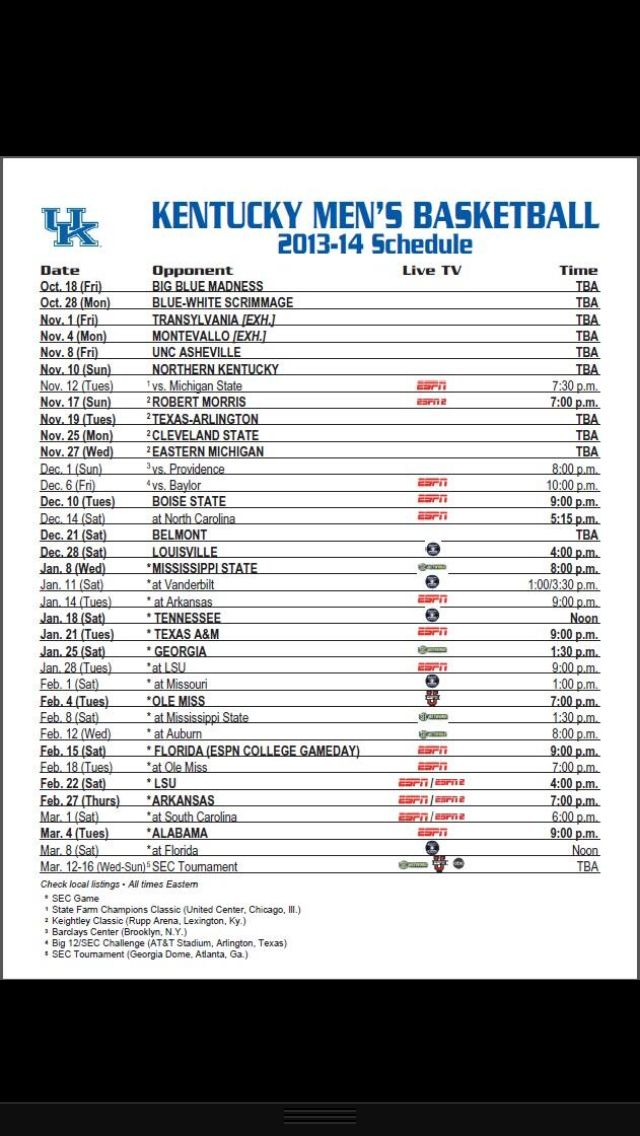 image regarding Uk Basketball Schedule Printable referred to as Berita Hari Ini: kentucky wildcats basketball program 2017-18