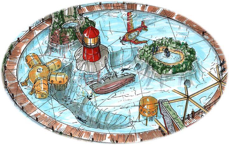 SEAFARI bassin impressie. 30 meter in diameter en 12 meter op zijn diepste punt. Geheel gedecoreerd met rotsenbouw en wrakken.