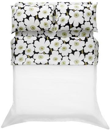 Unikko black Twin-XL Sheet Set by Marimekko