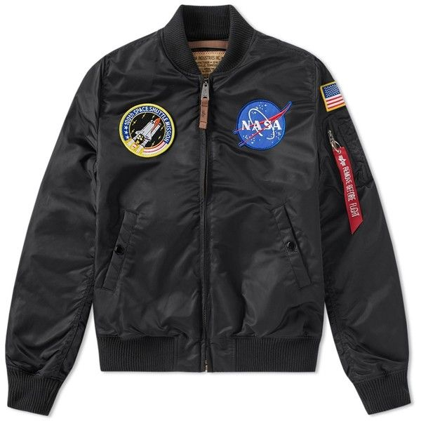 Alpha Industries MA-1 VF NASA Jacket (£159) ❤ liked on Polyvore featuring men's fashion, men's clothing, men's outerwear, men's jackets, jackets, mens nylon jacket, mens nylon bomber jacket, mens utility jacket and mens zip up jackets