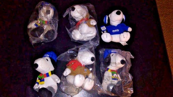 Lot of 6 Metlife Snoopy Plush Dolls