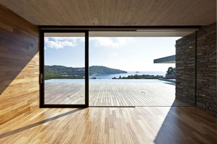 Featured. Brown Wooden Decks for Indoor and Outdoor Design: Awesome Wooden Deck Indoor And Outdoor Design At K Studio Plane House With Constrained Glass Doors And Large Glass Windows Also Overlooking A Beach Scene ~ wegli