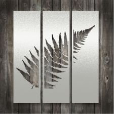 Man cave ideas - Lisa Sarah Stainless Steel Art - Silver Fern Triptych