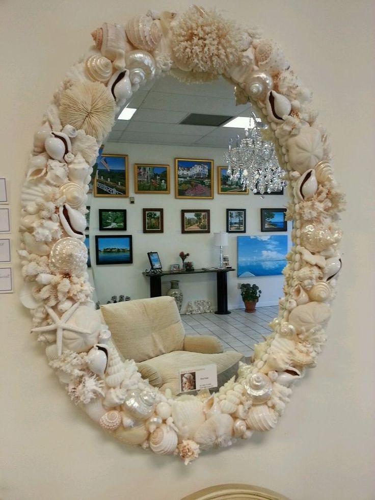large seashell oval beveled edge mirror COASTAL COTTAGE  WALL MIRROR #Handmade #Cottage