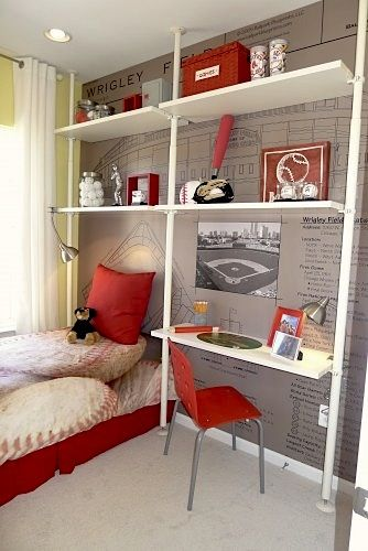 Baseball mural and shelving/desk idea for boys room... maybe one day my son's room will have a look like this, I can dream...