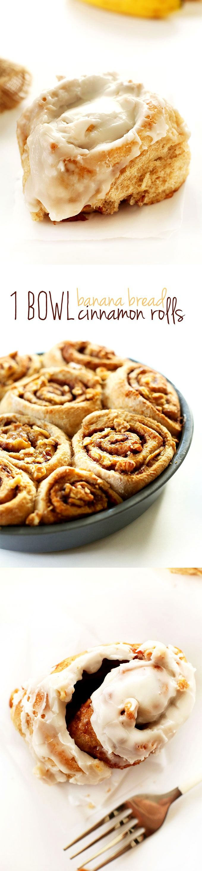 1 Bowl Banana Bread Cinnamon Rolls !!!!! Oh my goodness! These would be the most delicious cinnamon rolls ever!!!!! tender, flaky, perfectly sweet and seriously simple. #vegan