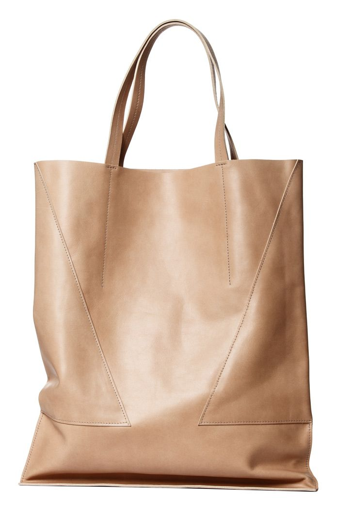 Nude Leather Tote Leather Handle | London Edit | Wolf & Badger