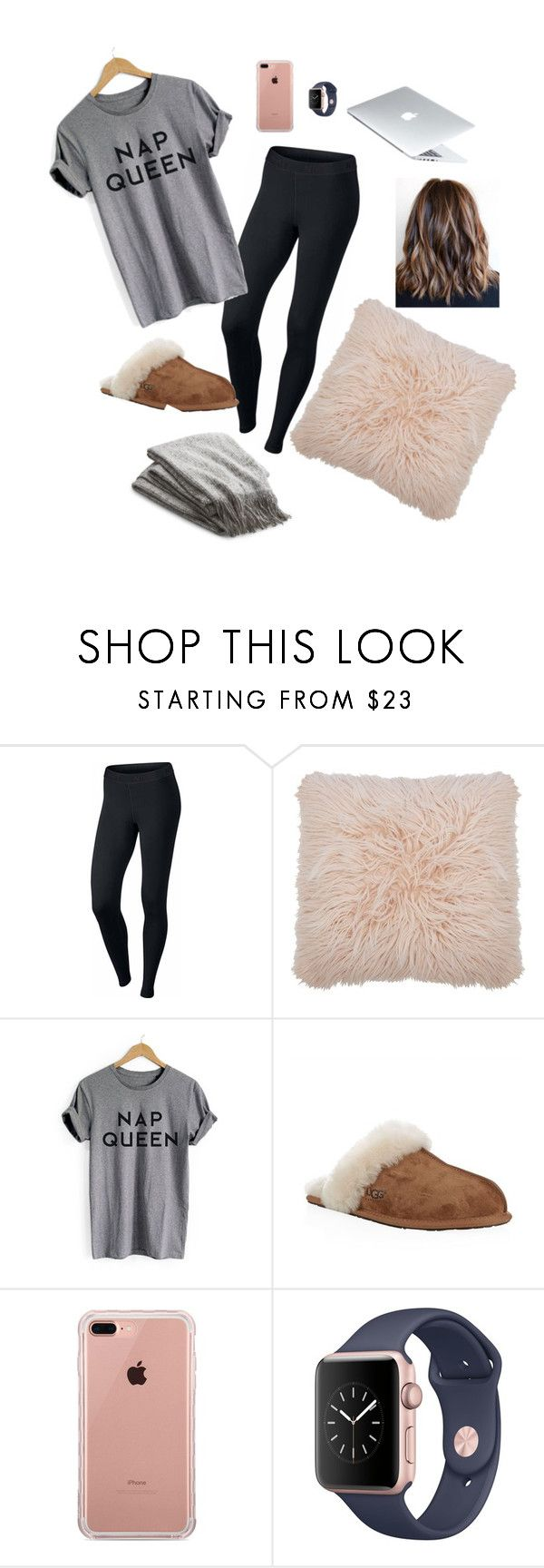 lazy day by gabriellaallen on Polyvore featuring NIKE, UGG Australia, Belkin, M&Co and Crate and Barrel
