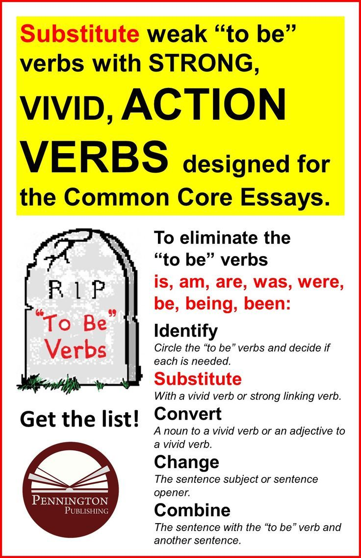 "I've been searching for a student-appropriate list of action verbs, categorized for essays, for a long time. I found one! Click the link to my article on ""How to Eliminate To-Be Verbs"" and find the list under the ""Substitute"" section. A great one-page hand-out your students will use."