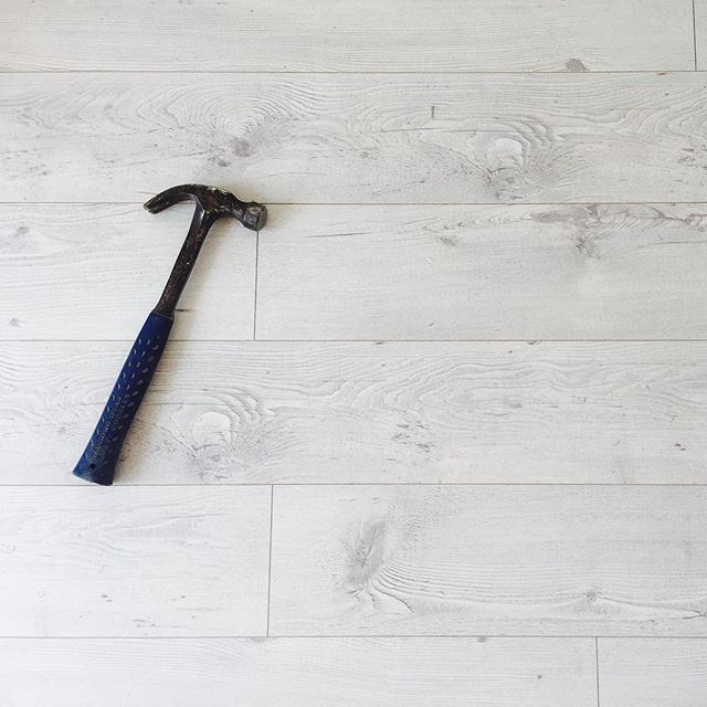 Floors Formica 12mm white wash oak laminate - a favourite used by Three Bird Renovations