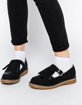 ASOS MAST T-Bar Fringe Shoes