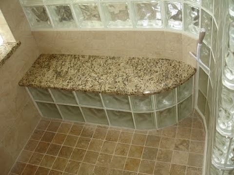 shower with glass block enclosure and seat attic bathroomsmall