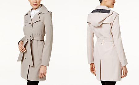 Calvin Klein Petite Hooded Belted Trench Coat