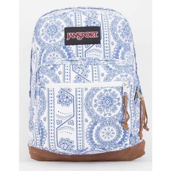 JanSport Right Pack Swedish Lace Backpack ($64) ❤ liked on Polyvore featuring bags, backpacks, white, white backpack, white bags, white laptop bag, jansport bags and laptop rucksack
