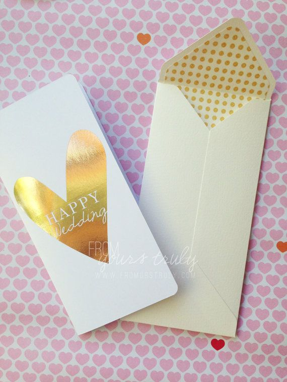 Rose Gold Foil Heart 'Happy Wedding' Wedding / engagement greeting card by FromUrsTruly