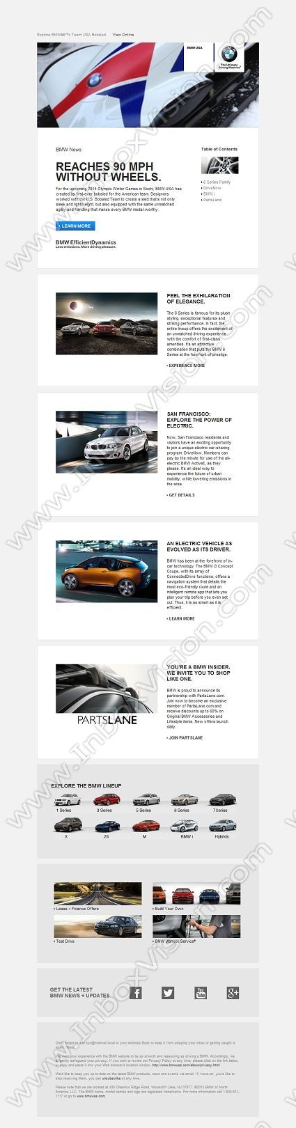 BMW inspirational email design