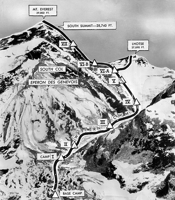 Map of route to top of Mt. Everest. Black line is the route used by Sir Edmund Hillary. The triangles are base camps established by later climbers. Associated Press image with labels added by The Times in the 1950s.