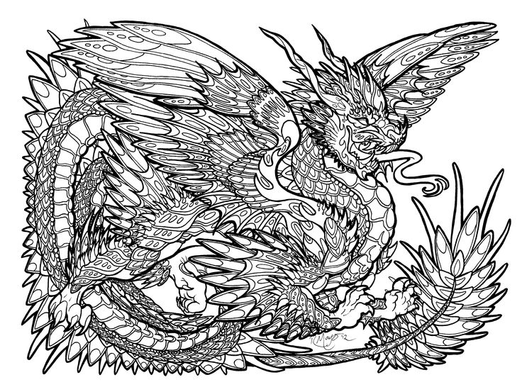 181 best dragons to color images on pinterest coloring Dragon coloring book for adults