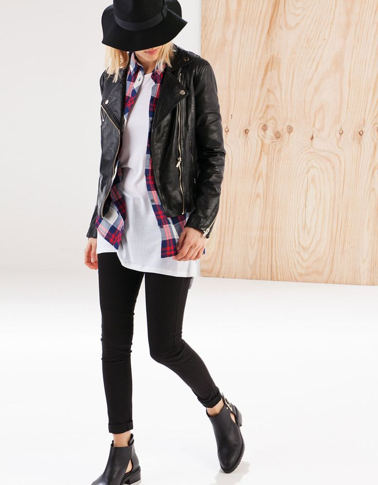 Leather biker jacket - BASICS - Stradivarius United Kingdom