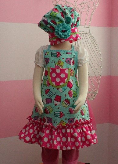 Kids Apron - Kids Ruffle Apron - Pink & Teal Cupcakes by KitschnWhimsy on Etsy https://www.etsy.com/listing/174495682/kids-apron-kids-ruffle-apron-pink-teal