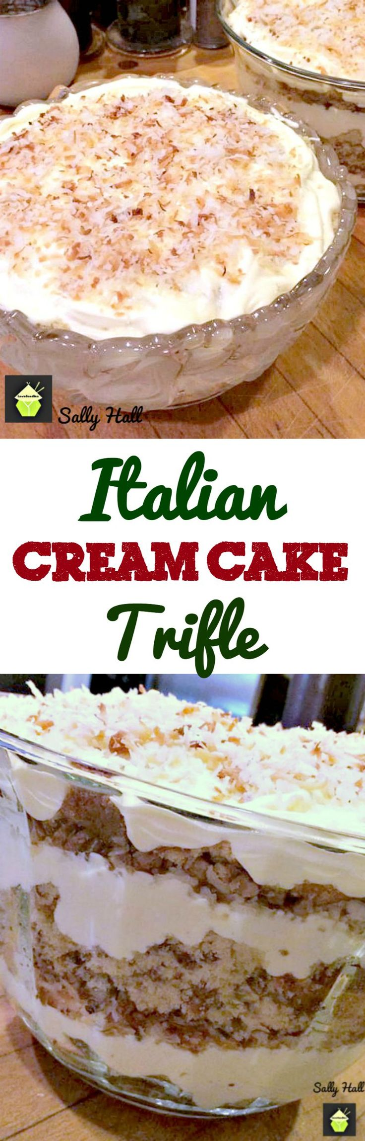 Italian Cream Cake Trifle, this is the most amazing trifle! Layers of classic fluffy Italian Cream Cake combined with delicious layers of creamy pudding, pecans and coconut will bring smiles to everyone who eats this!