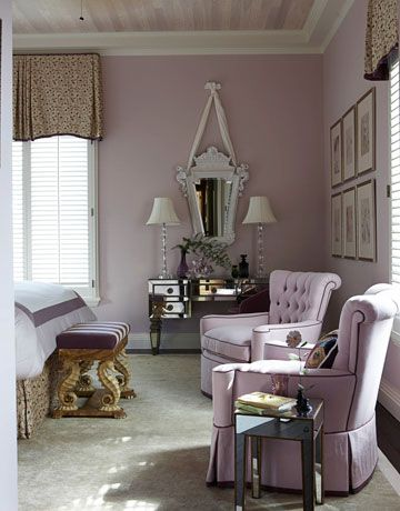 An Elegant Guest Bedroom rich with whiffs of Venice. look at the 1950s mirrored Italian furniture & 1920s mirror.