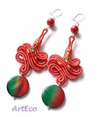coral green soutache earrings