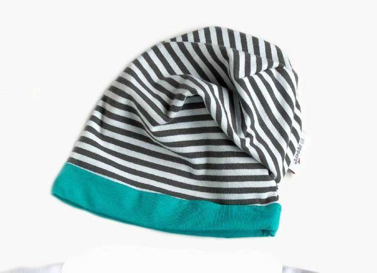 Li'l Zippers Romper and Bean - Teal Stripe