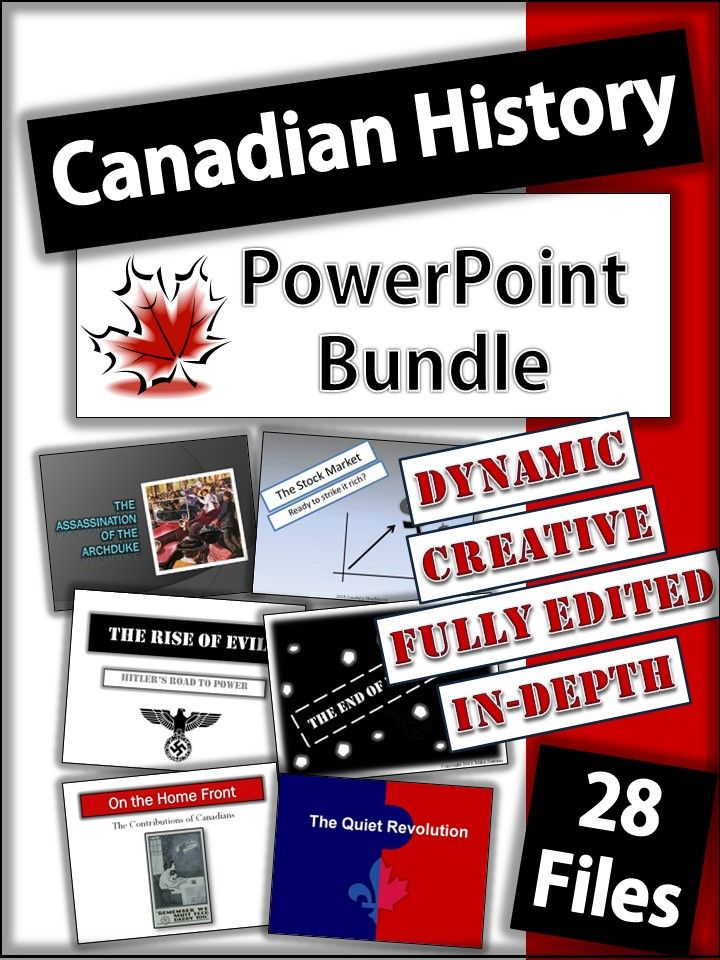 28 Dynamic and in-depth powerpoint presentations of Canadian History from 1914-2000. Under $2 per powerpoint!
