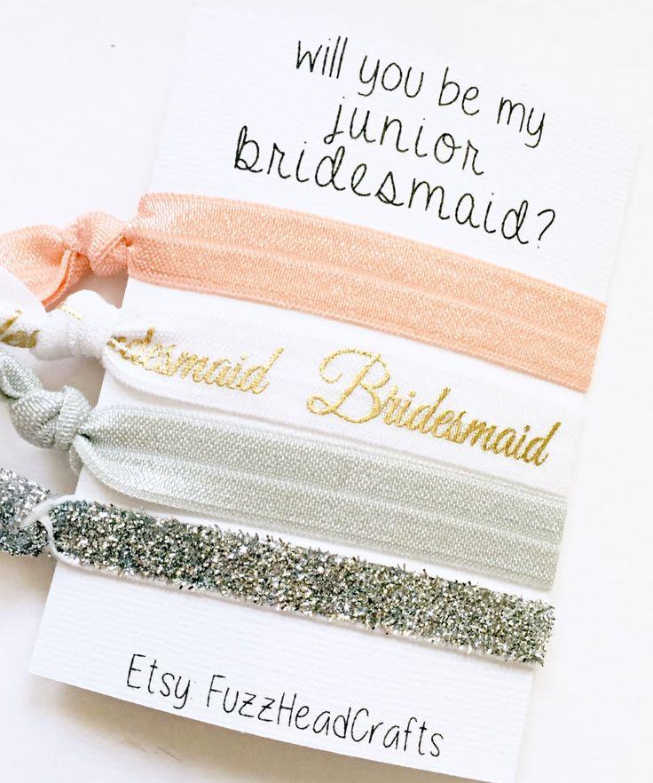 will you be my junior bridesmaid? - junior bridesmaid - gift - hair ties - headbands - bridal party - bridesmaid  - personalized - custom by FuzzHeadCrafts on Etsy