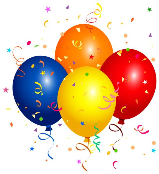 Confetti And Balloons PNG Clipart Image
