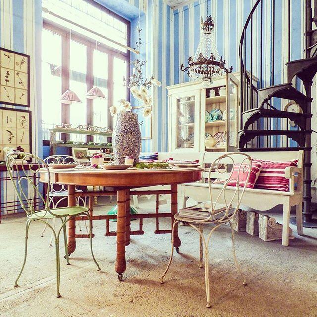 Our work our style  #vintage #furniture #design #interiordesign #home #decor #brocante #chic #wow #stripes #house #sun #light #spring #milan #iron #stairs #new #round #table #garden #herbarium #super #women #enricastabile #lutileeildilettevole