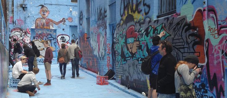 Rutledge Lane covered in blue paint, Melbourne