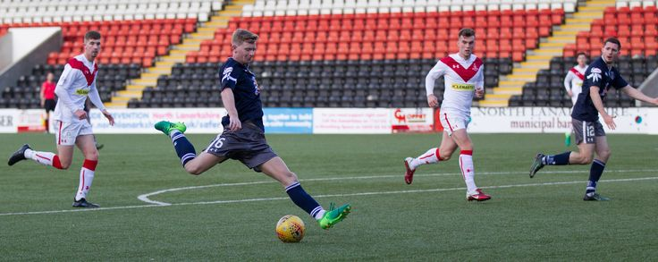 Queen's Park's Dominic Docherty scores a second goal during the SPFL League One game between Airdrieonians and Queen's Park.