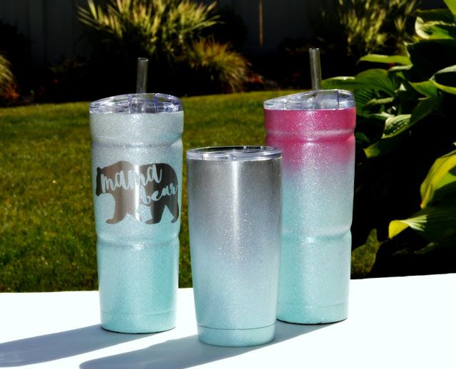 How to take a Yeti cup {or cold cup tumbler} and create a personalized ombre glittered cold cup with or without a vinyl logo. These make great handmade gifts.
