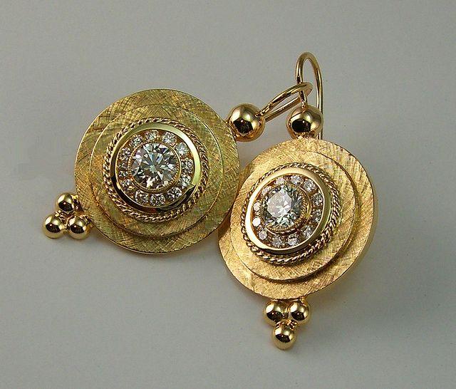 18K Greek Shield Diamond Earrings by Scott Schreiber