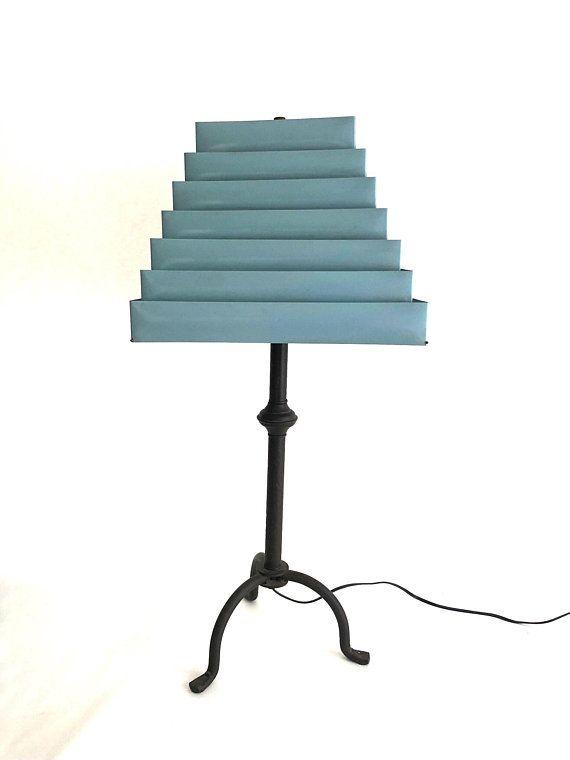 Retro Metal Lamp Shades Vintage Pale Blue Venetian Folding Shade Set Of 2 Premco Acc