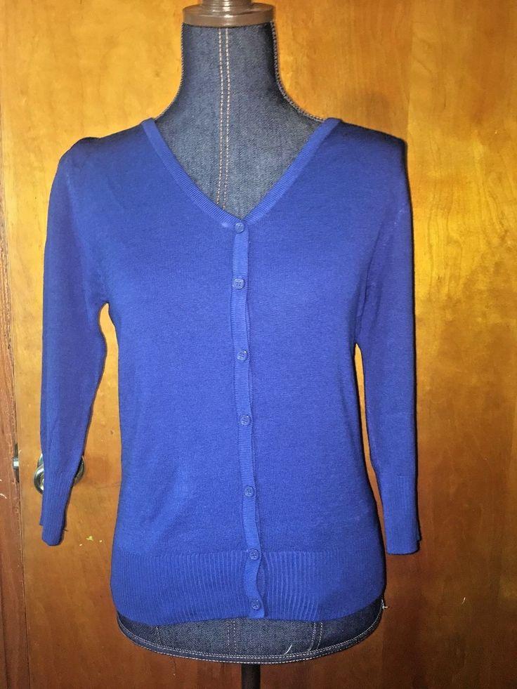 Mak 3/4 Sleeve V Neck Cardigan Royal Blue Modcloth Charter School Nwot