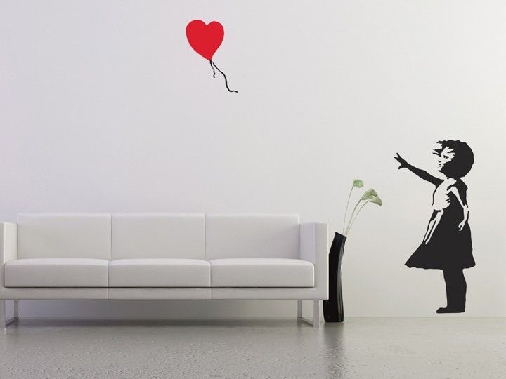 This bold wall sticker design is inspired by the iconic UK graffiti artist Banksy. It depicts a young girl in a stencilled black ink effect letting go of a red heart-shaped balloon. Much of Banksy's work features images of children, which he uses to great effect to communicate his political message. The Balloon Girl is inspired by one of Banksy's most popular designs and combines careful use of colour with a thought-provoking image to create a vivid, stirring focal point to any room.
