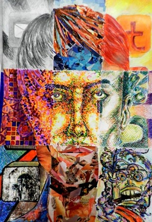 Artsonia Art Museum :: Artwork by Adrian2094, Mixed Media Portraits