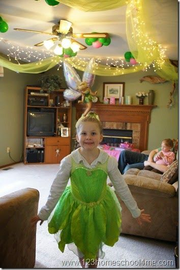 disney tinkerbell party decoration ideas ceiling tulle and lights
