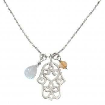 Ananda Hamsa Necklace . Sterling Silver . Blue Topaz . Citrine
