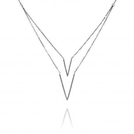 Stříbrný dvouvrstvý náhrdelník se zirkony