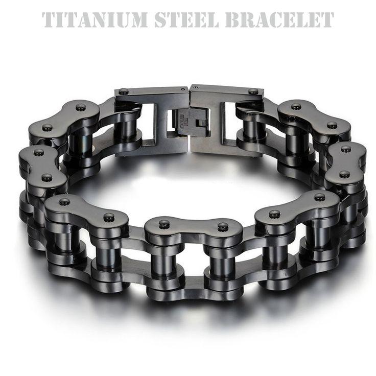 Top Quality Titanium IP Black Plated Biker Bicycle Chains Bracelets Punk Wristbands High Polished Brace lace Men's Jewelry 23cm