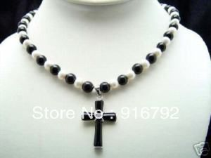 free shipping *******Elegant Jewelry white pearl jade cross pendant necklace