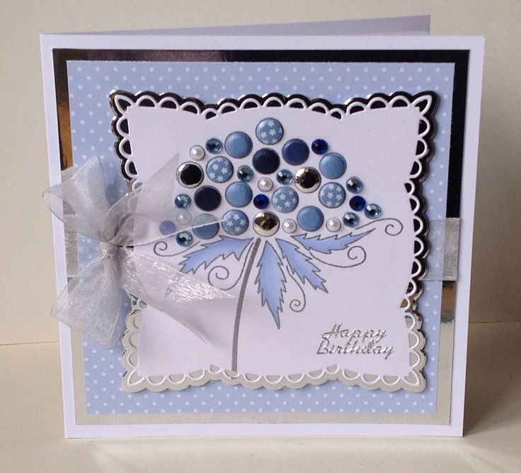 Woodware bubble stamp 'Clarissa' with card candy and gems.
