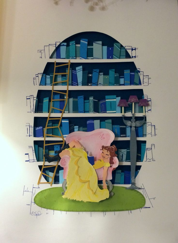 """""""It's Her Favorite Part Because...You'll See"""" Original Paper Art by Effie Snow of Belle from Disney's Beauty and the Beast."""