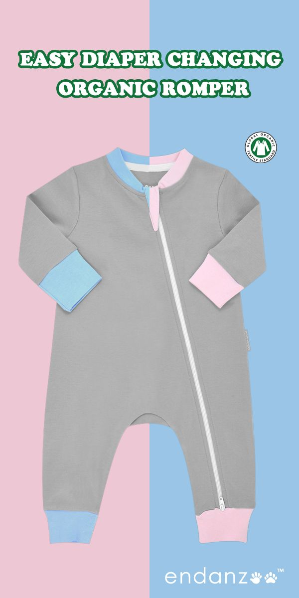 Latest Baby Fashion at Endanzoo. Easy Diaper Changing Romper. 100% Certified Organic Cotton.  10% Net Profits Donated.
