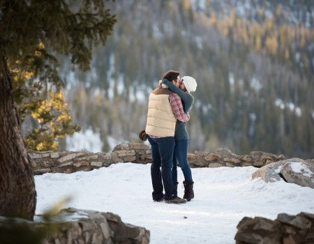 Sapphire Point Overlook Winter Colorado Proposal Kiss After Proposal